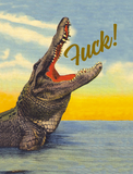 Fuck! Greeting Card with Retro Crocodile Motif