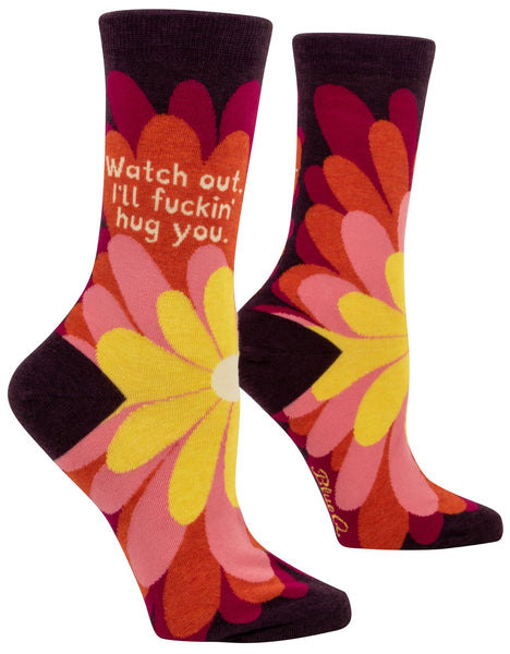 Watch Out - I'll Fuckin' Hug You Women's Crew Socks Hipster/Nerdy/Geeky/Trendy, Floral Colorful Funny Novelty Socks with Cool Design, Bold/Crazy/Unique Quirky Dress Socks