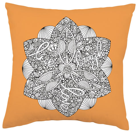 Live Love Laugh Square Pillow in Coloring Book-Inspired Design