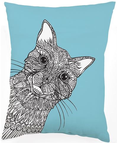 Cat Soft Light Blue Pillow in Coloring Book-Inspired Design