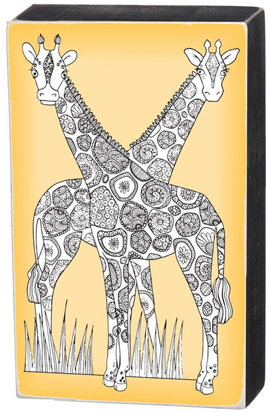 Giraffes Color It Yourself Block Sign, Coloring Project For Adults, Decorative Wall Art for Living Room/Bedroom/Dining Room