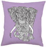 Elephant Soft Violet Square Pillow in Coloring Book-Inspired Design