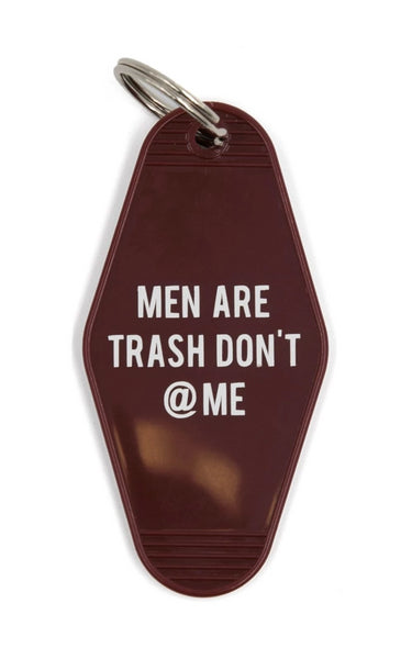 Men Are Trash Don't @ Me Motel Keychain in Dark Red