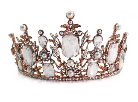 Lace-Covered Gems Crown Tiara in Rose Gold