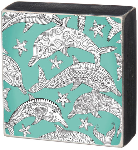 Color It Yourself Dolphin Box Sign with Mint Background