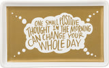"Positive Thinking Trinket Tray - Stoneware | Gold | Pretty Gift Idea | Inspirational Dish 6.75"" x 4.13"""