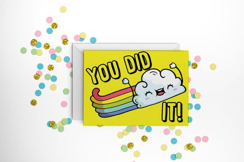 You Did It Greeting Card with Rainbow Cloud