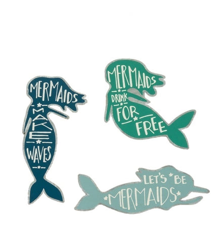 Mermaids Tin Magnets in Shades of Blue and Green