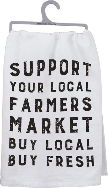 Support Your Local Farmers Market Dish Cloth Towel / Novelty Tea Towels / Cute Farmhouse Kitchen Hand Towel