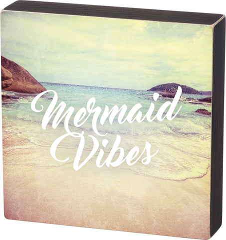 Mermaid Vibes Wooden Box Sign
