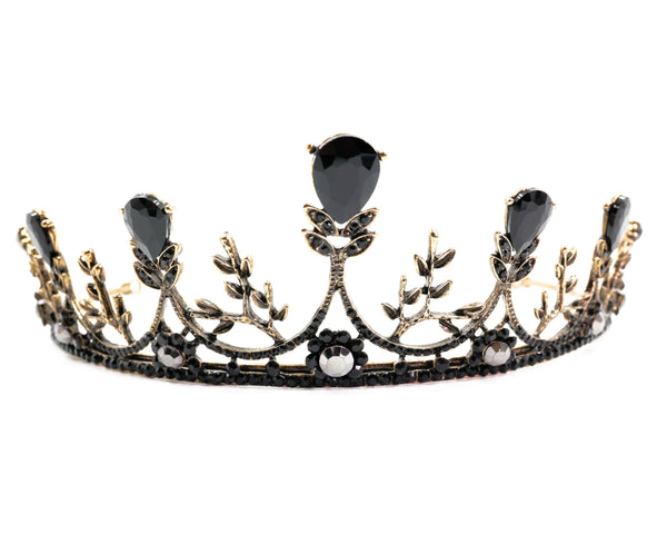 Midnight Blossom Tiara Crown in Gold with Black Gems