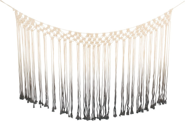 Macrame Curtain Dip-Dye Boho Wall Decor in Gray Ombre