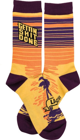 Gettin' Shit Done Later Socks in Tropical Island Design