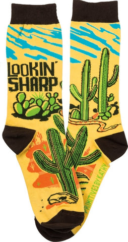 Lookin' Sharp Cactus Black Colorful Funny Novelty Business Socks with Cool Design, Bold/Crazy/Unique Specialty Dress Socks