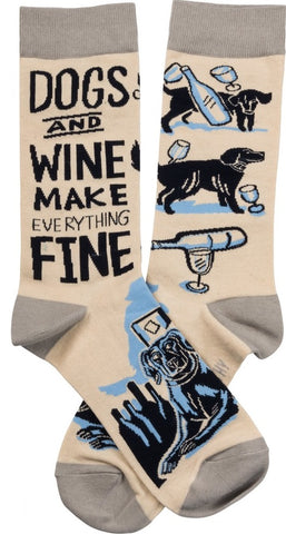 Dogs And Wine Make Everything Fine Socks in Beige and Blue
