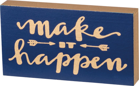 Make It Happen Wooden Block Magnet in Navy Blue