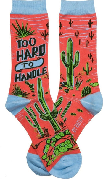 Too Hard To Handle Cactus Colorful Funny Novelty Socks with Cool Design, Bold/Crazy/Unique/Quirky Specialty Dress Socks