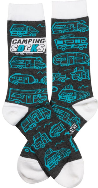 Camping Socks with in RV Black Teal Funny Novelty Socks with Cool Design, Bold/Crazy/Unique/Quirky Specialty Dress Socks