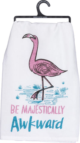 Be Majestically Awkward Pink Flamingo Glitter Dish Towel