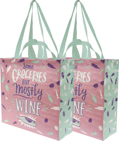 "Some Groceries But Mostly Wine Large Market Tote Bag in Pink and Blue | 15.50"" x 15.25"" x 6"""
