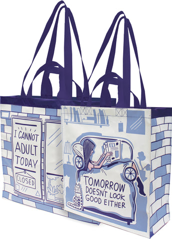 "I Cannot Adult Today Tomorrow Doesn't Look Good Either Large Market Tote Bag in Blue | 15.50"" x 15.25"" x 6"""