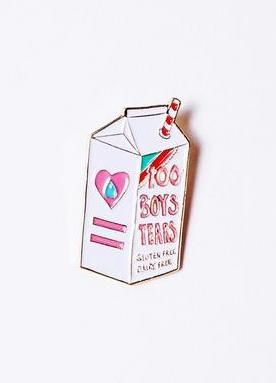 Boys Tears Enamel Pin in Milky White
