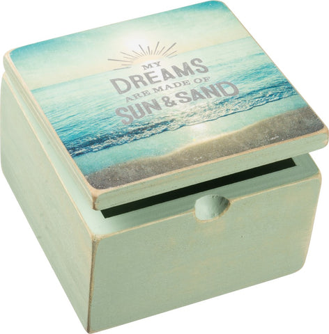 My Dreams Are Made Of Sun & Sand Wooden Hinged Box