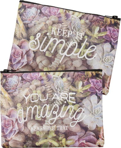 You Are Amazing - Remember That / Keep It Simple Floral Zipper Pouch