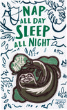 Nap All Day, Sleep All Night - Party Never Sloth Patch and Socks Gift Set