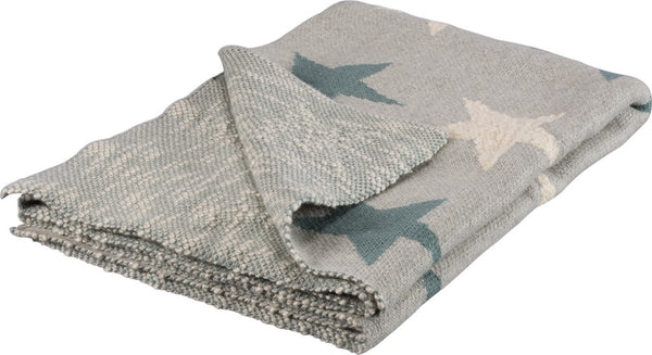 "Blue Star Knitted Throw Blanket in Muted Colors | 30"" x 40"""