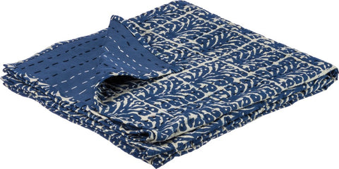 Floral Throw in Indigo with Kantha-Stitched Patterns