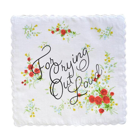 For Crying Out Loud Retro Floral Print Cotton Handkerchief