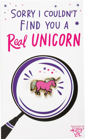 Couldn't Find You A Real Unicorn Enamel Pin on Gift Card