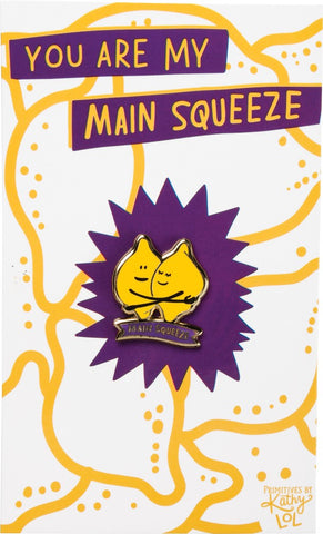 You Are My Main Squeeze Hugging Lemons Enamel Pin in Yellow