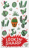 Lookin' Sharp Cactus Enamel Pin on Gift Card