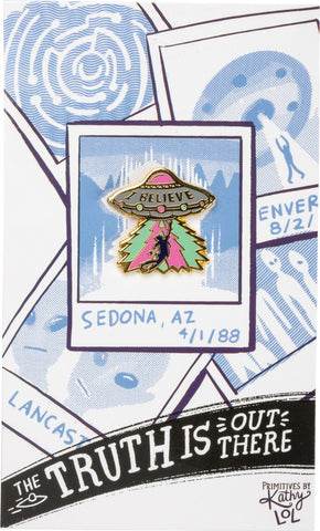 The Truth Is Out There UFO Enamel Pin on Gift Card