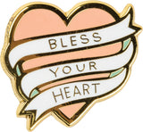 Bless Your Heart Enamel Pin in Pink on Southern-Inspired Gift Card