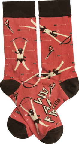 Wild & Free Socks with Archer and Bow & Arrow Design