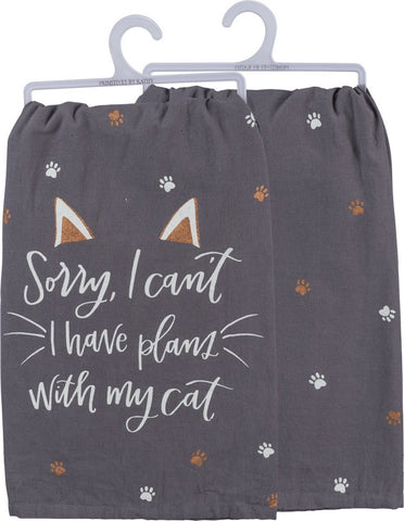 Sorry..Plans With My Cat  Black Dish Towel