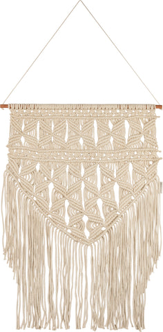 "Hand Knotted Macramé Flower Repeat Wall Hanging Decor | Large Size 24"" x 36"""