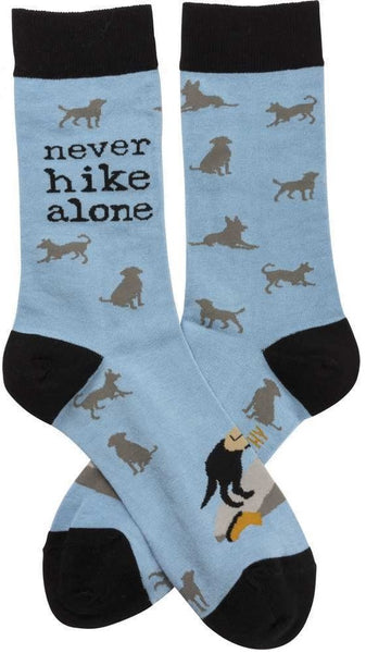 Never Hike Alone Silhouette Dog Black Blue Funny Novelty Socks with Cool Design, Bold/Crazy/Unique Specialty Dress Socks