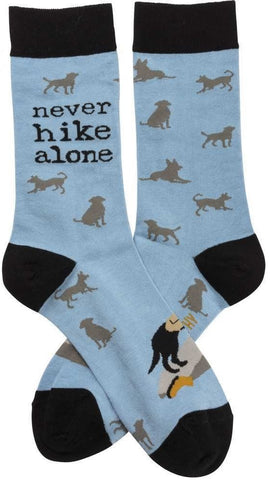 Never Hike Alone Silhouette Dog Socks
