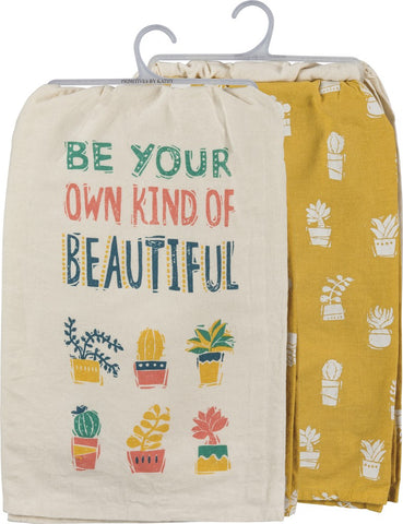 Be Your Own Kind Of Beautiful Dish Towel Set with Potted Succulents Design