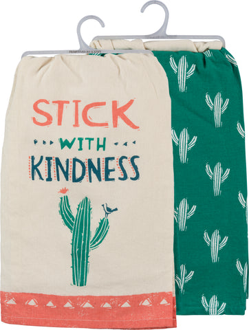 Stick With Kindness Cactus Dish Cloth Towel Set | 2 Coordinating Cotton Towels