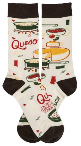 Queso Dip Recipe Socks with Cheese, Veggie, Bowl and Stove Designs