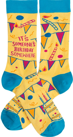 It's Someone's Birthday Somewhere Crew Socks in Banner and Cake Design