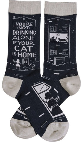 You're Not Drinking Alone If Your Cat Is Home Socks in Black