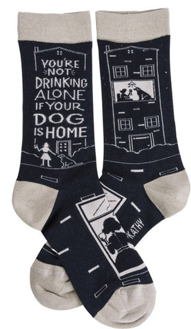 You're Not Drinking Alone If Your Dog Is Home Socks in Black