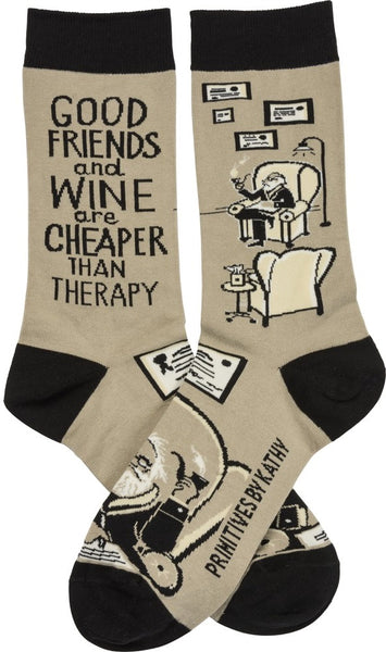 Good Friends And Wine Are Cheaper Than Therapy Funny Novelty Socks with Cool Design, Bold/Crazy/Unique Specialty Dress Socks