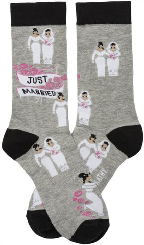 Two Brides Just Married Black Pink Funny Novelty Socks with Cool Design, Bold/Unique Specialty Dress Socks